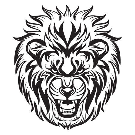 Mascot. Vector head of lion. Black illustration of danger wild cat isolated on white background.