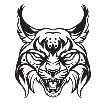 Mascot. Vector head of lynx. Black illustration of danger bobcat isolated on white background.