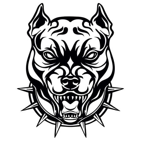 Mascot. Vector head of cougar. Black illustration of danger dog isolated on white background.