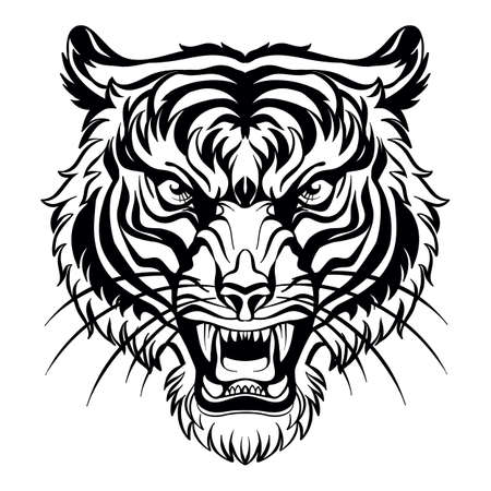Mascot. Vector head of tiger. Black illustration of danger wild cat isolated on white background.