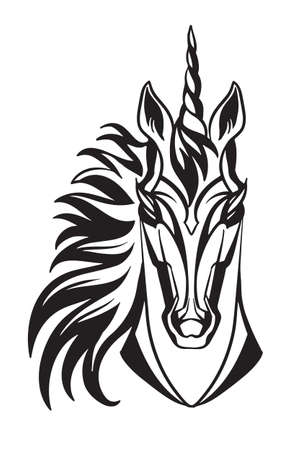 Mascot. Vector head of unicorn. Black illustration of danger wild horse isolated on white background.