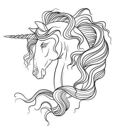 Elegant head of the unicorn with a long mane. Vector black and white isolated contour illustration for coloring book pages, design, prints, posters, postcards, stickers, tattoo.
