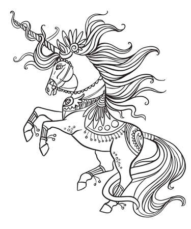 Elegant ornate unicorn with a long mane. Vector black and white isolated contour illustration for coloring book pages, design, prints, posters, postcards, stickers, tattoo.