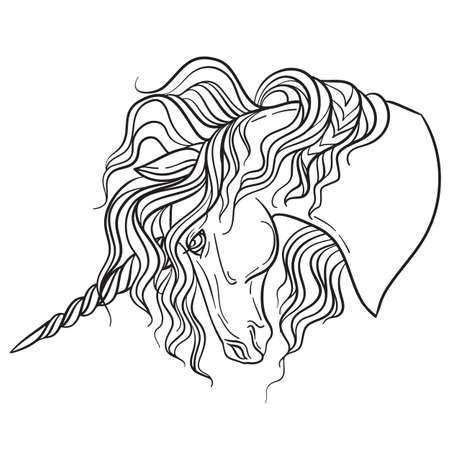 Beautiful profile of the unicorn with a long mane. Vector black and white isolated contour illustration for coloring book pages, design, prints, posters, postcards, stickers, tattoo. Ilustração