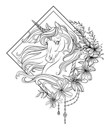 Head of the unicorn in profile with a long mane in floral frame. Vector black and white isolated contour illustration for coloring book pages, design, prints, posters, postcards, stickers, tattoo. Ilustração