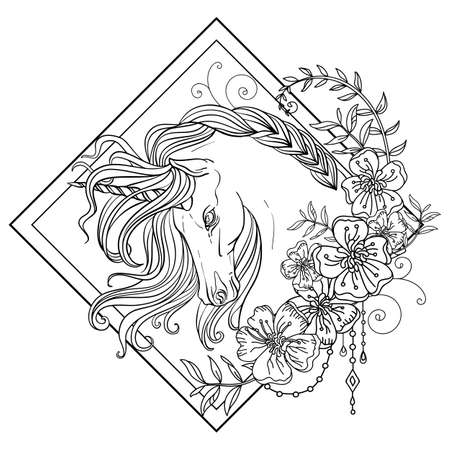 Head of the unicorn in profile with a long mane in floral frame. Vector black and white isolated contour illustration for coloring book pages for adult, design, print, poster, postcard, sticker, tattoo