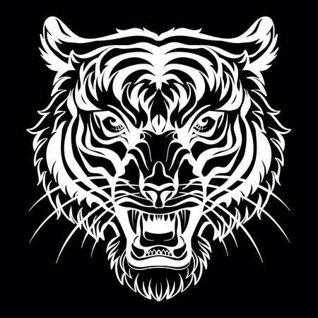Mascot. Vector head of tiger. White illustration of danger wild cat isolated on black background. Vecteurs