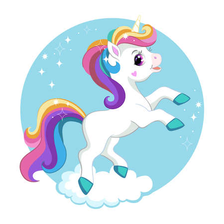 Cute cartoon unicorn with rainbow mane on a cloud. Vector isolated illustration. For print and design, posters, nursery design, cards, stickers, room decor, party, t-shirt, kids apparel and invitation Ilustracja