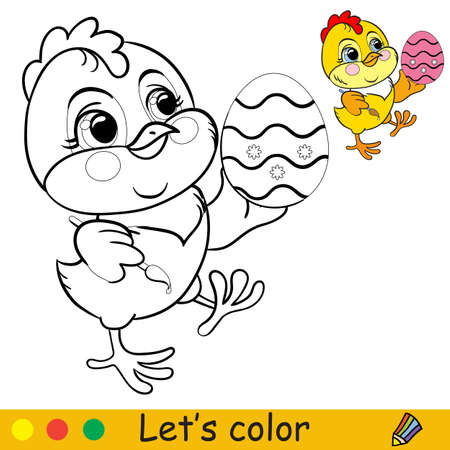 Cute chicken with easter egg. Cartoon character chicken. Coloring book page with colorful template. Vector isolated contour illustration. For coloring book, preschool education, print and game.