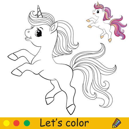 Cute unicorn with purple long mane. Coloring book page with colorful template. Vector cartoon illustration isolated on white background. For coloring book, preschool education, print and game. 일러스트