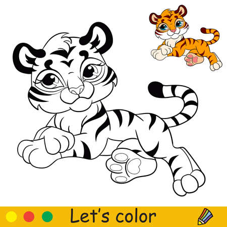 Cute lying tiger. Cartoon character tiger. Coloring book page with colorful template. Vector contour illustration isolated on white background. For coloring book, preschool education, print and game.