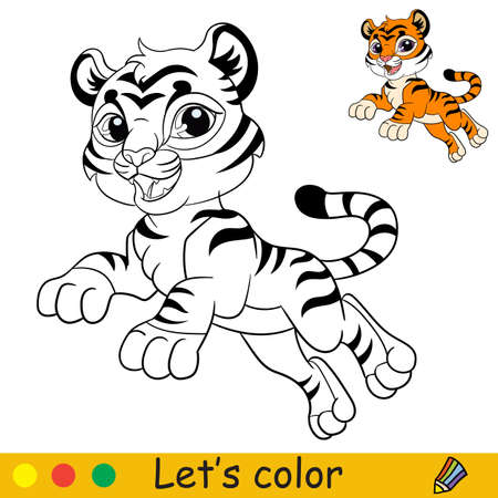 Cute jumping tiger. Cartoon character tiger. Coloring book page with colorful template. Vector contour isolated illustration. For coloring book, preschool education, print and game. 일러스트