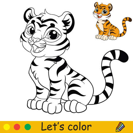 Cute sitting tiger. Cartoon character tiger. Coloring book page with colorful template. Vector contour illustration isolated on white background. For coloring book, preschool education, print and game.