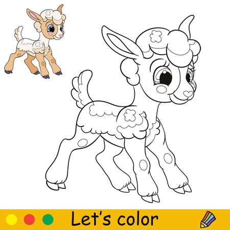 Cartoon character cute funny standing lamb. Coloring book page with colorful template. Vector isolated contour illustration. For coloring book, preschool education, print and game.