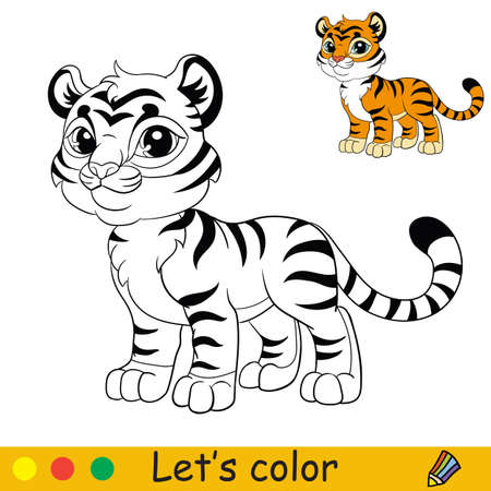 Cute standing tiger. Cartoon character tiger. Coloring book page with colorful template. Vector contour illustration isolated on white background. For coloring book, preschool education, print and game