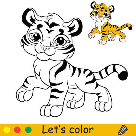 Cute tiger. Cartoon character tiger. Coloring book page with colorful template. Vector contour illustration isolated on white background. For coloring book, preschool education, print and game. Ilustracja
