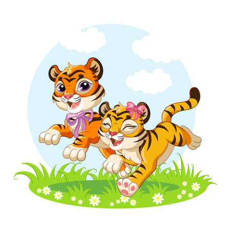 Cute cartoon little tigers running through a blooming meadow. Vector isolated illustration. Ilustracja
