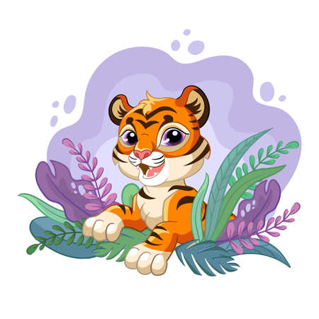 Cute cartoon little tiger with romantic beauty plants. Vector isolated illustration. 일러스트