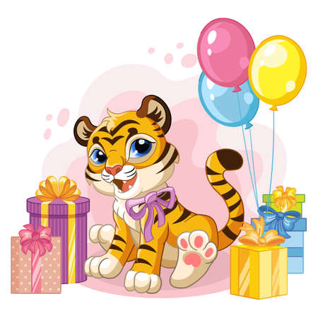 Cute cartoon little tiger with balloons and present boxes. Vector isolated illustration.