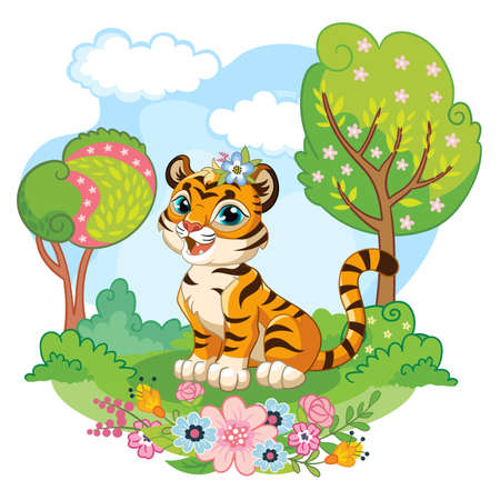 Cute cartoon little tiger sitting on meadow with flowers and trees. Vector isolated illustration. 일러스트