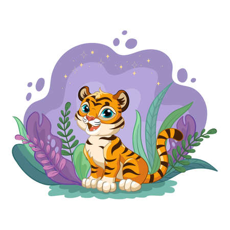 Cute cartoon little tiger with romantic beauty flowers in the night. Vector isolated illustration.