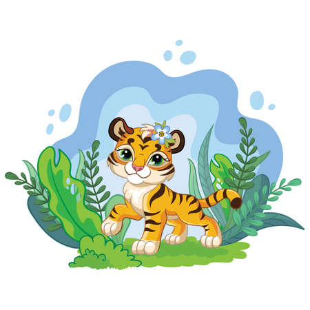 Cute cartoon little tiger with jungle plants. Vector isolated illustration.wer