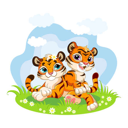 Cute cartoon little tigers playing on a blooming meadow. Vector isolated illustration.