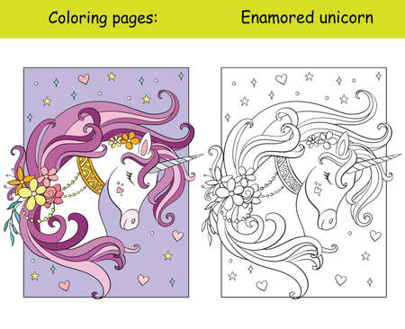 Beauty unicorn with flowers and stars coloring vector and template