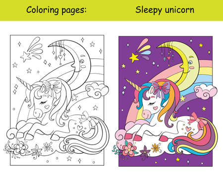 Cute sleepy unicorn lying on cloud coloring vector and template