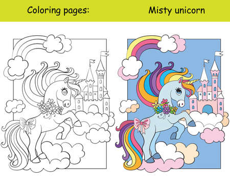 Cute unicorn on cloud and sky castle coloring vector and template