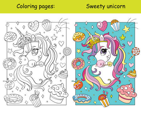 Cute unicorn head with sweets and cakes coloring vector and template