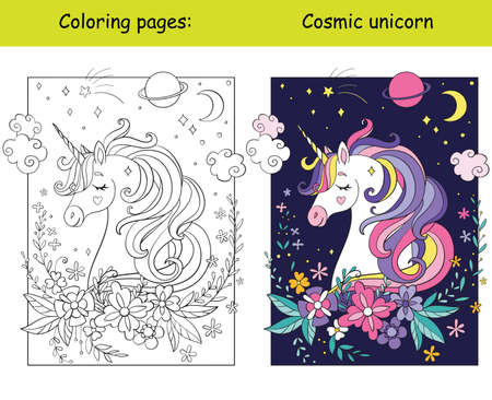 Beauty cosmic unicorn with flowers and stars coloring vector and template