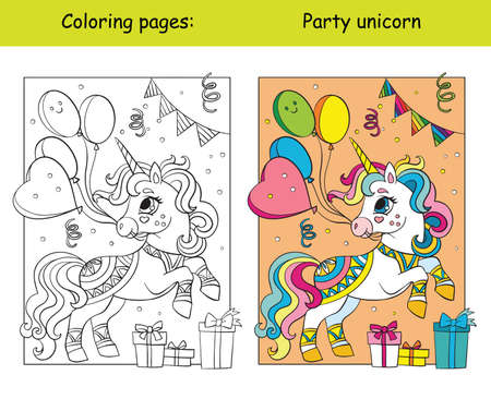 Cute party unicorn with balloons coloring vector and template 일러스트