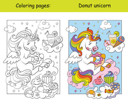 Cute unicorn eats donuts and other sweets coloring vector and template 일러스트