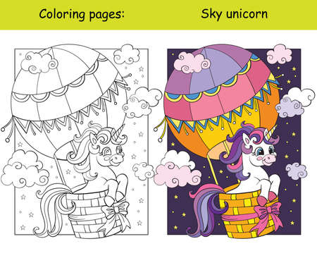 Cute unicorn flying in hot air balloon in the sky coloring vector and template