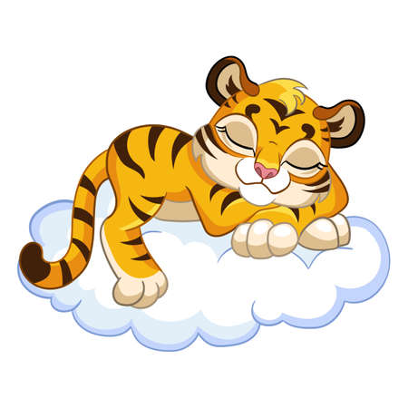 Cute sleeping tiger cartoon character vector illustration