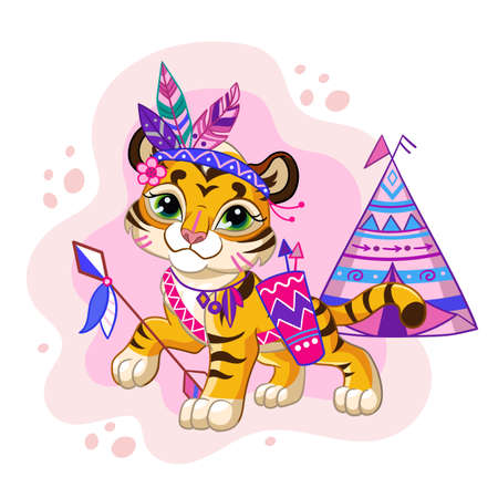 Vector illustration cartoon character tribal tiger girl vector illustration 일러스트