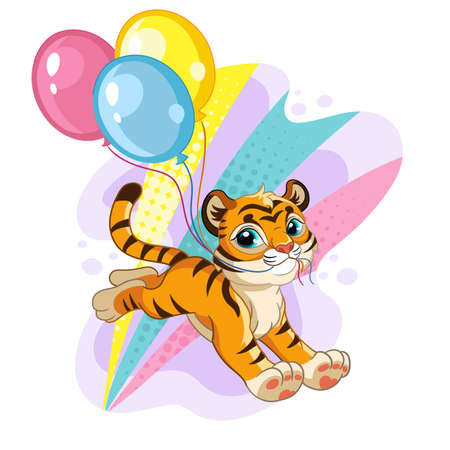 Cute tiger with balloons cartoon character vector