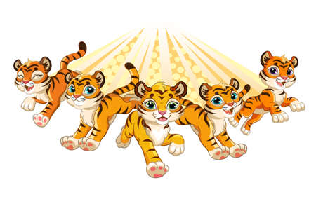 Cute brave tigers running forward cartoon characters vector