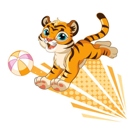 Cute tiger with orange ball cartoon character vector
