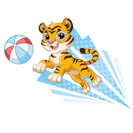 Cute jumping dynamic tiger cartoon character vector