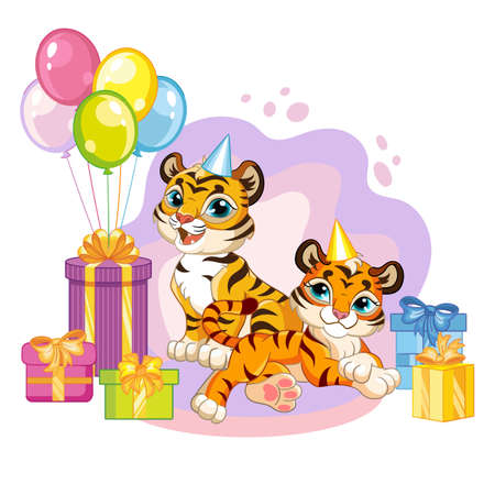Vector illustration cartoon tigers with present boxes and balloons