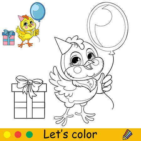 Cartoon character holiday chicken with balloon. Coloring book page with colorful template. Vector isolated contour illustration. For coloring book, preschool education, print, stickers, design and game Ilustracja