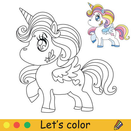 Cute kawaii unicorn with rainbow mane. Coloring book page with colorful template. Vector cartoon illustration isolated on white. For coloring book, preschool education, print, stickers, design and game