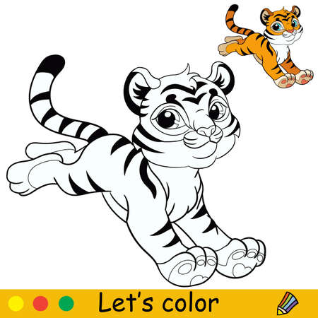 Cute jumping tiger. Cartoon character tiger. Coloring book page with colorful template. Vector contour isolated illustration. For coloring book, preschool education, print, stickers, design and game.