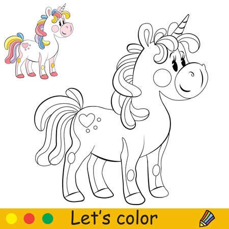Cute toy unicorn with rainbow mane. Coloring book page with colorful template. Vector cartoon illustration isolated on white. For coloring book, preschool education, print, stickers, design and game.