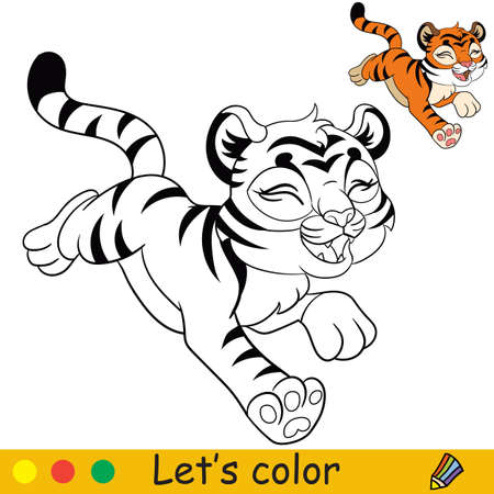 Cute running tiger. Cartoon character tiger. Coloring book page with colorful template. Vector contour isolated illustration. For coloring book, preschool education, print, stickers, design and game. Ilustracja