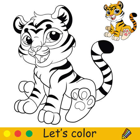 Cute sitting tiger. Cartoon character tiger. Coloring book page with colorful template. Vector contour isolated illustration. For coloring book, preschool education, print, stickers, design and game. Ilustracja