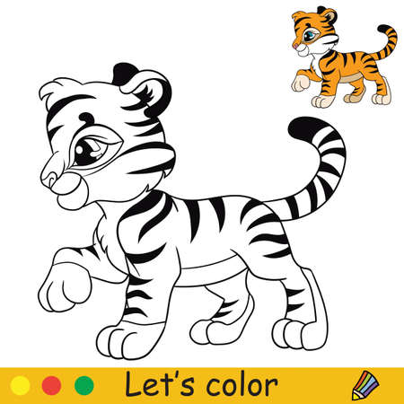 Little tiger in profile coloring with colorful template vector Ilustracja