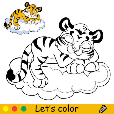 Little tiger on a cloud coloring with colorful template vector Ilustracja